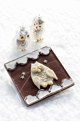 Christmas chocolate decorated with an owl