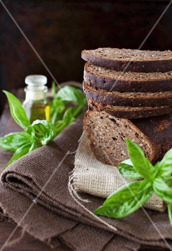 Sliced and Stacked Whole Grain Bread with Basil