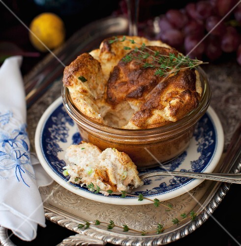 Salmon Souffle with a Scoop on a Spoon