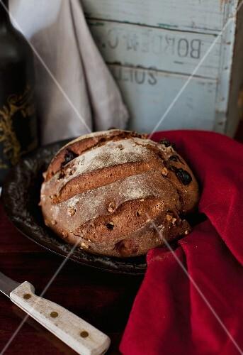 Rustic Loaf of Walnut Bread