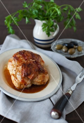 Roasted Sausage Stuffed Chicken Breast; Parsley and Olives