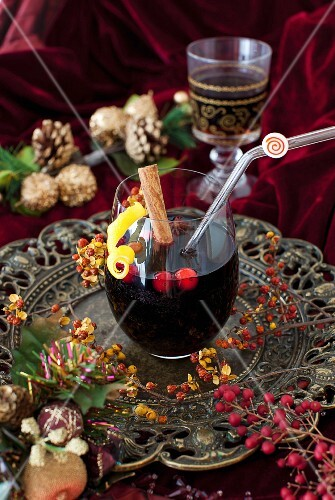 A Glass of Mulled Wine on a Silver Tray