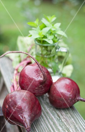 Three Whole Beets; Outside; Fresh Mint