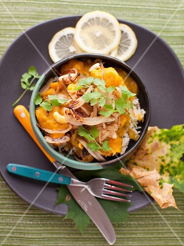 Cashew, Coconut and Butternut Squash Curry Stew and Basmati Rice in a Bowl; From Above