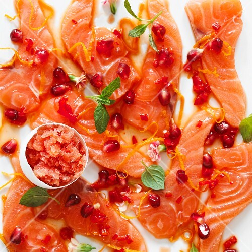 Salmon sashimi with pomegranate seeds and blood orange granita for Easter