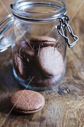Macaroons in a storage jar