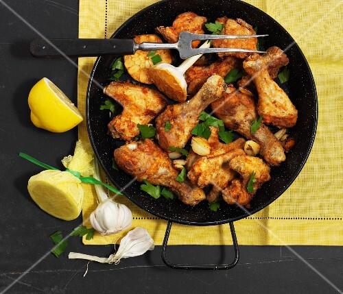 Pollo al ajillo (chicken with garlic, Spain)