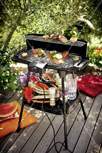Fish and vegetables on an electric barbecue