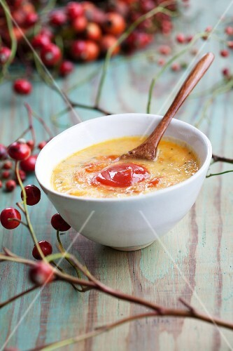 Squash soup with stewed rosehip