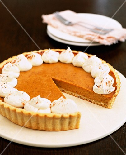 Pumpkin Pie with a Slice Missing