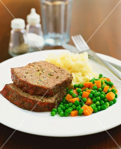 Meat Loaf with mashed potatoes, peas and carrots
