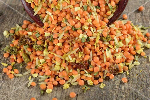 Lentil and rice mix with herbs and spices
