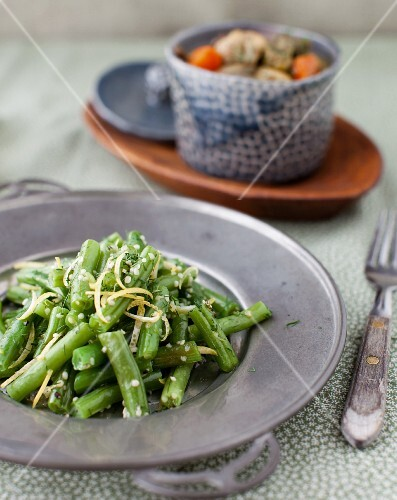 Green Bean Salad with a Bowl of Curried Turkey Stew in the Background