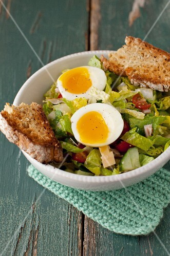 Salad with Soft Boiled Egg and Slices of Irish Soda Bread