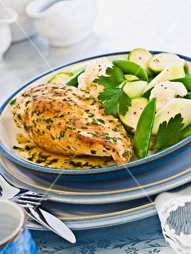 Roasted chicken breast with steamed vegetables