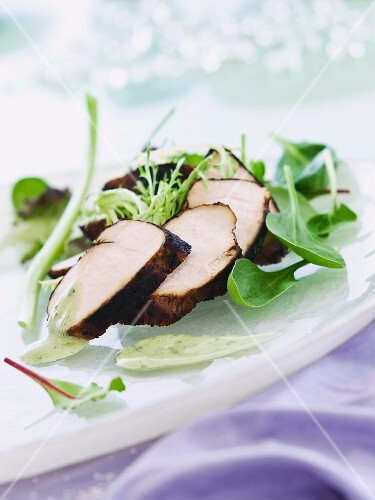 Barbecued balsamic chicken breast with salad and wasabi vinaigrette