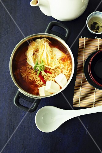 Soup with kimchi noodles