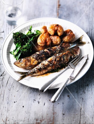 Freshly cooked sardines