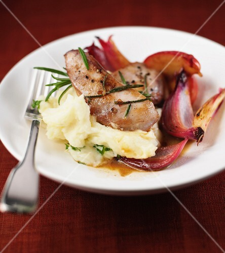 Saute Partridge Breasts with Apple and Shallots