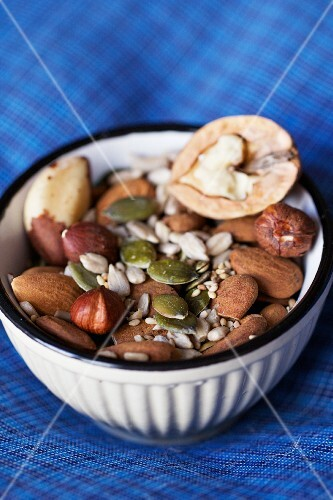 Nuts and seeds in a small bowl