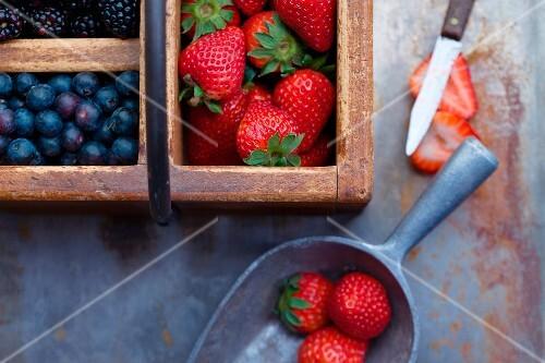 Strawberries, Blueberries and Blackberries in Vintage Boxes