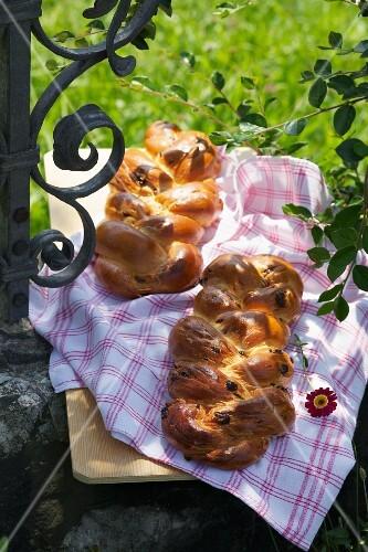 Two Seelenzopf loaves (sweet bread for a parish fair, Bavaria)