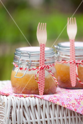 Apple cake in jars for a picnic