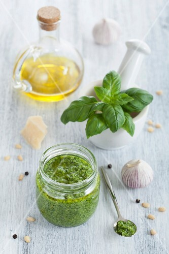 Pesto and ingredients