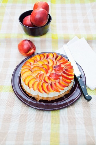 Curd cheesecake with nectarines
