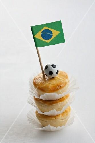 Empadinhas (mini pies, Brazil) with a Brazilian flag