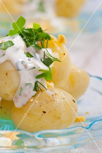 Potato salad with yoghurt, chives, dill and hard-boiled eggs