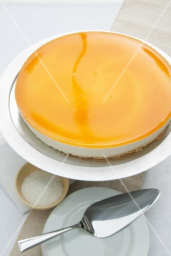 Crème fraîche and vanilla cheesecake with passion fruit jelly topping