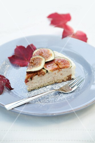 A slice of fig and ricotta cheesecake