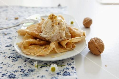 Crepes with walnut ice cream