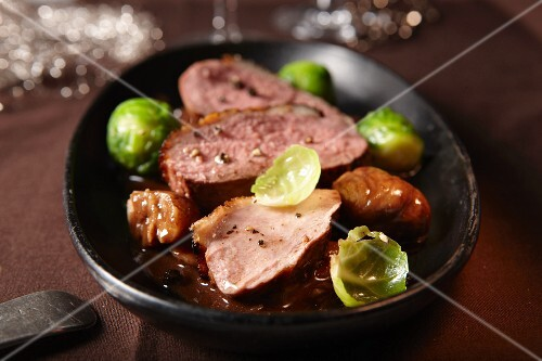 Duck breast with Brussels sprouts and chestnuts