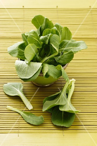 Baby pak choi in a bowl on a bamboo mat