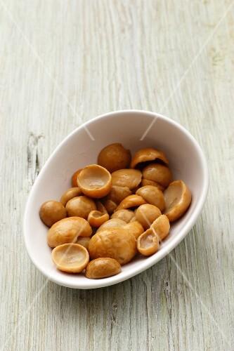 Preserved porcini mushrooms in a bowl