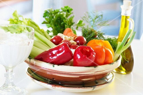 Healthy eating: vegetables, olive oil, yoghurt and quark