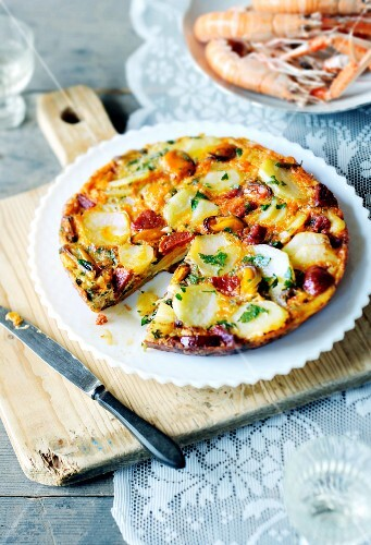 Spanish tortilla with chorizo and mussels