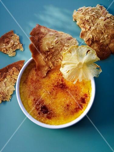 Crème brûlée with saffron honey