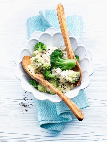 A salad of broccoli and Romanesco broccoli