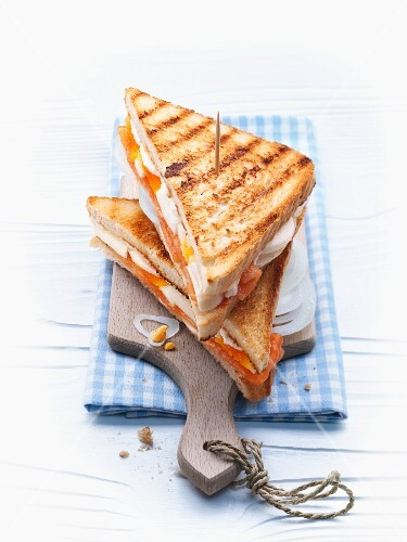 Toast sandwich with smoked salmon and eggs
