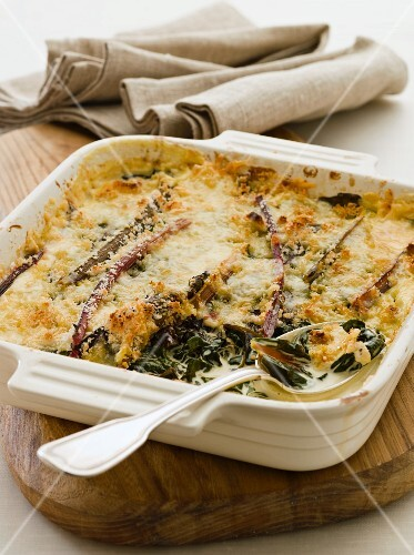 Chard gratin topped with cheese
