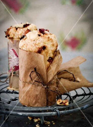 Cheese muffins wrapped in grease-proof paper