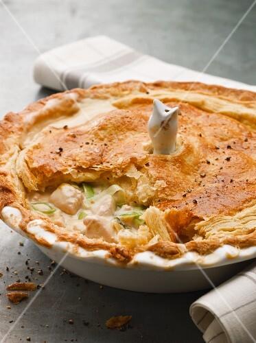 Chicken pie, sliced open