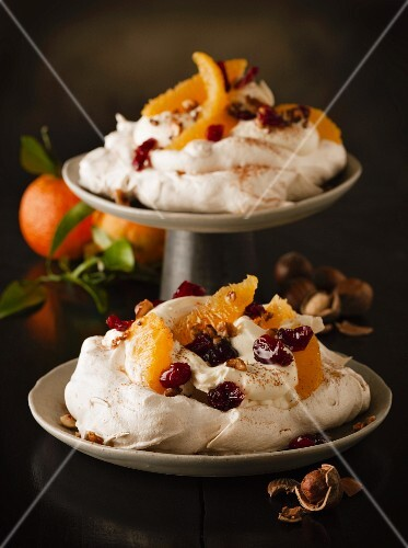 Pavlova with oranges and cranberries for Christmas