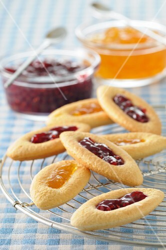 Jam biscuits with red and yellow jam