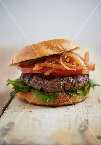 Kobe Beef Burger with Onion, Tomato and Lettuce