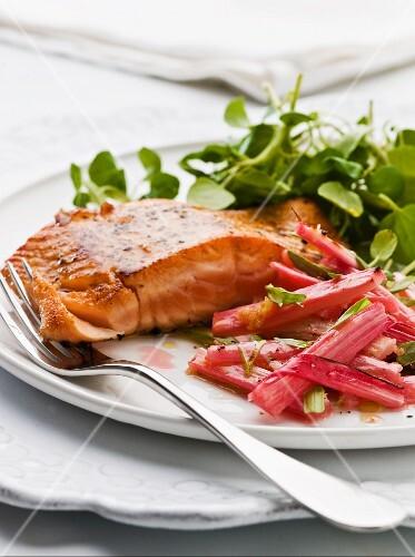 Salmon with rhubarb and tarragon