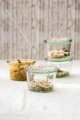 Jars containing a prepared risotto and dry mix for oven-baked risotto